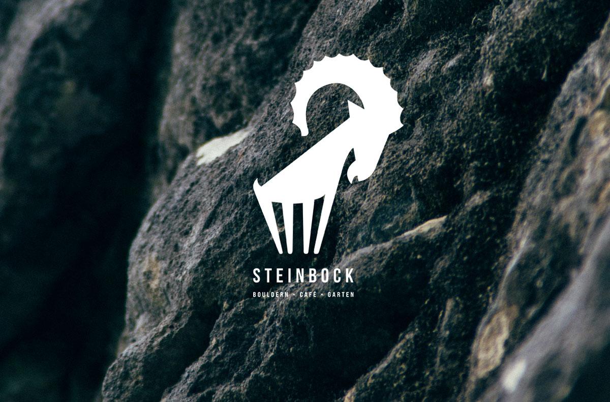 Steinbock Logo auf Steinhintergrund